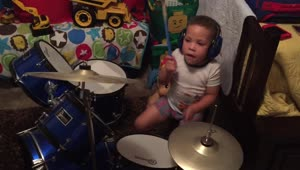 Talented 3-year-old drummer jams before bed - Video