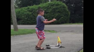 Kid's rocket blasts off in the wrong direction - Video