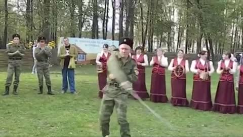 Russians being Russians playing with swords