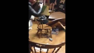 Drunk Woman Demolishes Table