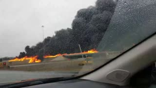 Fire Engulfs Highway After Tanker Truck Crash - Video