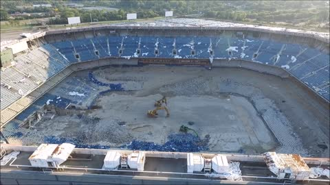 Pontiac Silverdome Demolition Fail Drone Footage