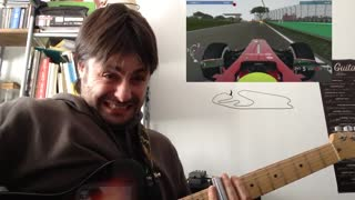 Guitarist plays along with Formula 1 race