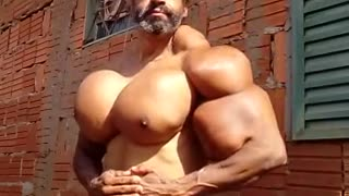 Brazilian Man Shows Off His Strangely Inflated Pectoral Muscles