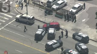 LAPD Cruiser Rams [MUST SEE] Stolen Vehicle in South L.A. Pursuit