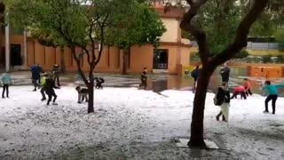 Malaga Covered In Hail After Huge Storm