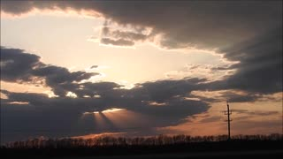 Beautiful Crepuscular Rays From A Manitoba Sunset