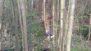 Dude wipes out hard during epic zip line fail