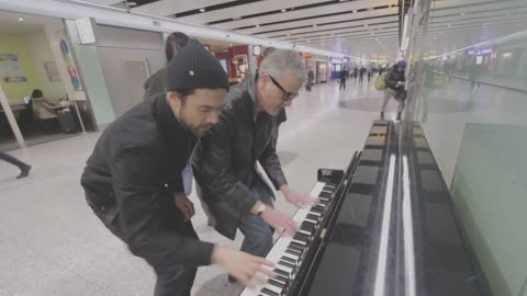 Three piano dudes boogie woogie at the airport