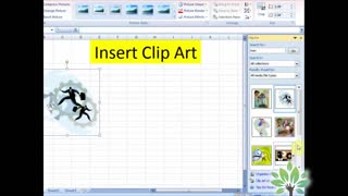Lesson No 48 The Insert Picture Clipart Ms Excel 2007 - 2010 in urud and hindi - Video