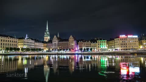 Breathtaking time lapse of Stockholm at night