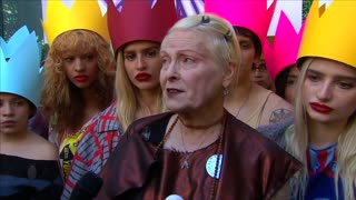 Vivienne Westwood talks politics at LFW - Video
