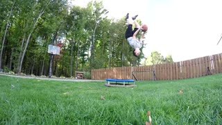 Backflip trick shot off a mini trampoline
