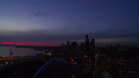 Drone captures beautiful Seattle sunset