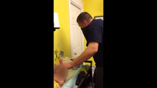 Dad Can't Handle Poopy Diaper Change - Video