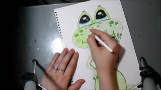 Speed drawing: Cute frog - Video