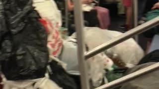 Trash bags and trash in subway car man sleeping