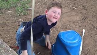 Boy Gives Himself Wedgie, Falls When Rope Attached To His Pants Breaks - Video