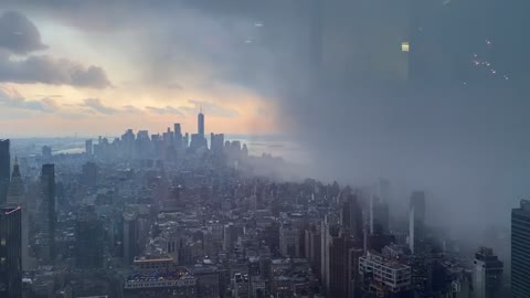 Snow squall completely engulfs New York City