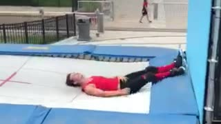 Collab copyright protection - blue trampoline wall guy falls - Video