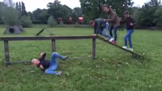 Wooden obstacle course hands and feet crawling fail