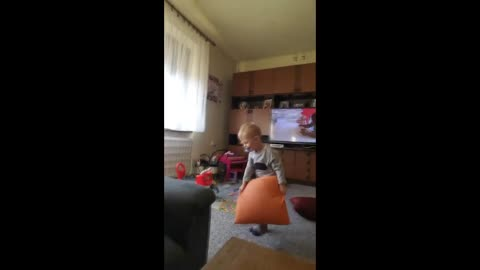 Clever little boy successfully pranks his dad
