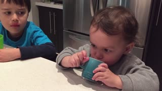 Little Boy Drinks Juice Loudly To Annoy Brother