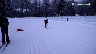 Guy red suit green skis falls forward front flip fail - Video