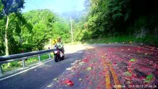 Truck Shatters Watermelon On Road Creating Real Hazard