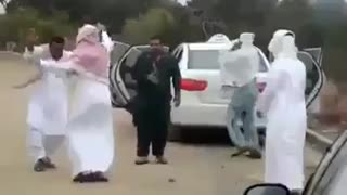 Arabic persons dancing and enjoying with pakistani boys  - Video
