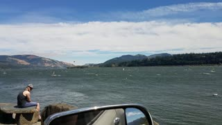 Surfboard Sailing on the Columbia River