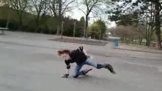 Guy rollerblades for the fist time and falls on concrete floor