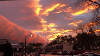 Majestic Sight Of Pink Roll Clouds Painting The Bright Skies - Video