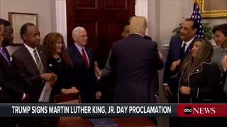 Reporters Yell 'S***hole,' 'Racist' Questions At Trump After He Signs MLK Jr. Proclamation - Video