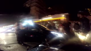 London Road Rage - Car Drives into Motorcycle - Video