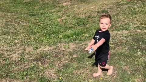Little Boy Mistakes Bee For butterfly