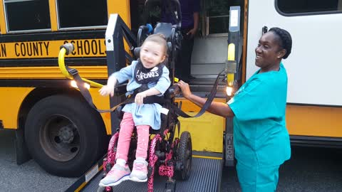 Little Girl With Cerebral Palsy Extremely Excited For First Day Of School