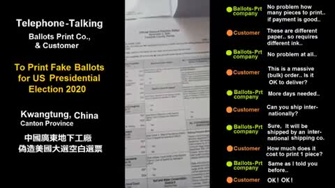 VIDEO: Phone Call to Chinese Manufacturer Requesting US Ballots