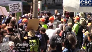 Protesters Try To Jump Proud Boys Attempting To Have A Conversation At #MarchAgainstSharia Seattle - Video