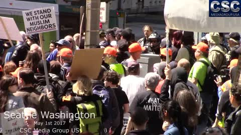 Protesters Try To Jump Proud Boys Attempting To Have A Conversation At #MarchAgainstSharia Seattle