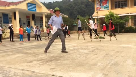 Stilt walking -Traditional folk games of Vietnamese