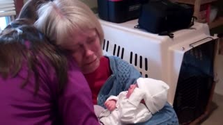 Woman Gets Emotional After Meeting Granddaughter For The First Time - Video