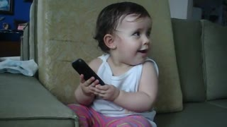 Cute Baby Knows How to Talk on the Phone - Video