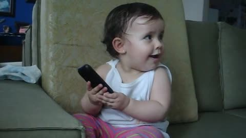 Cute Baby Knows How to Talk on the Phone