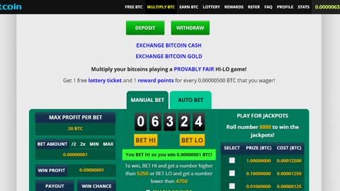 Bitcoin for free, a simple game