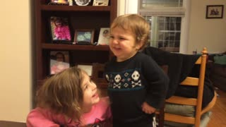 Adorable baby shocked sister won't kiss him - Video
