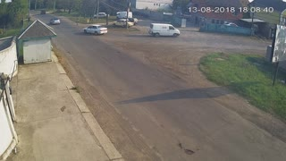 Motorcycle Rider Thrown over Car