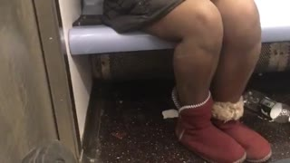 Woman wearing jacket but no pants on nyc subway train
