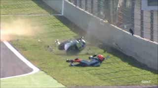 WSBK - Gino Rea impressive front flip Crash at Magny Cours with slowmotion - Video