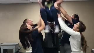 Collab copyright protection - girls lift one on chair hits head - Video